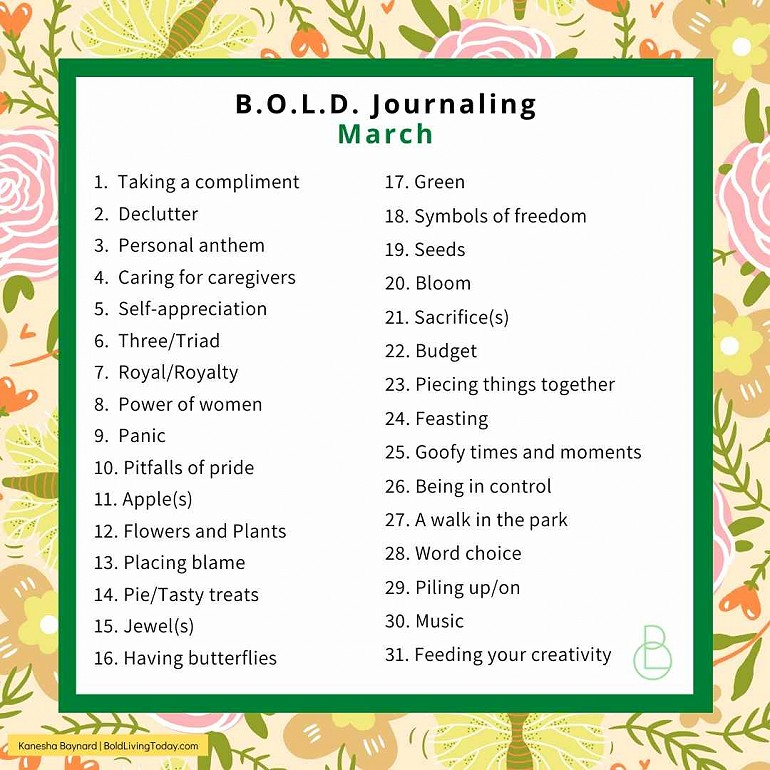 Write your B.L.O.O.M. narrative for March